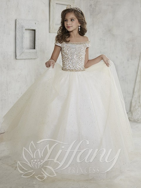 7aacc61dc1 US $96.85 35% OFF|Beautiful Cap Sleeve Kids Formal Wedding Party Puffy Gown  Sparkly Bead Sequin Toddler Ball Gowns Cheap Flower Girl Dresses-in Flower  ...