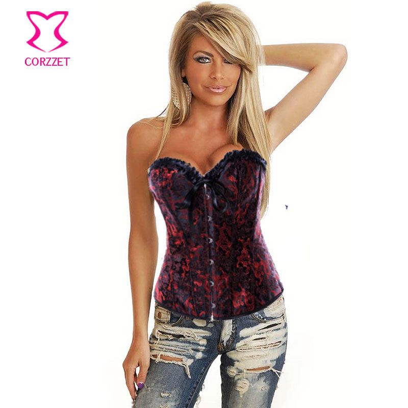 Oriental Dragon Peony Embroidery Red And Black Bustier Corset Tops Sexy Gotico Corselet Overbust Corses Para Mujer Burlesque