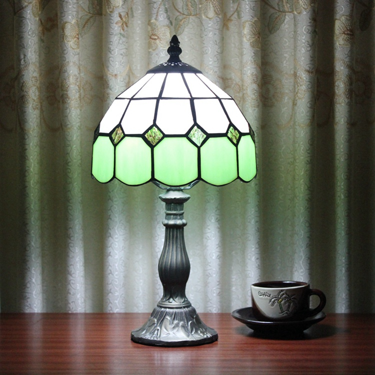 Stained Glass Mediterranean Simple green Creative Retro Art Ornament lighting bedroom Bedside decorative desk lamp 110-240V E27