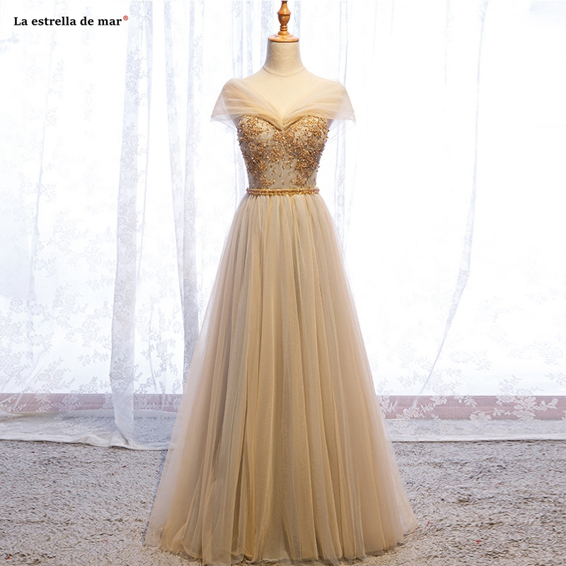 Vestido madrinhas de casamneto2019 new tulle crystal sexy V neck cap sleeve A Line gold   bridesmaid     dress   long wedding guest dres