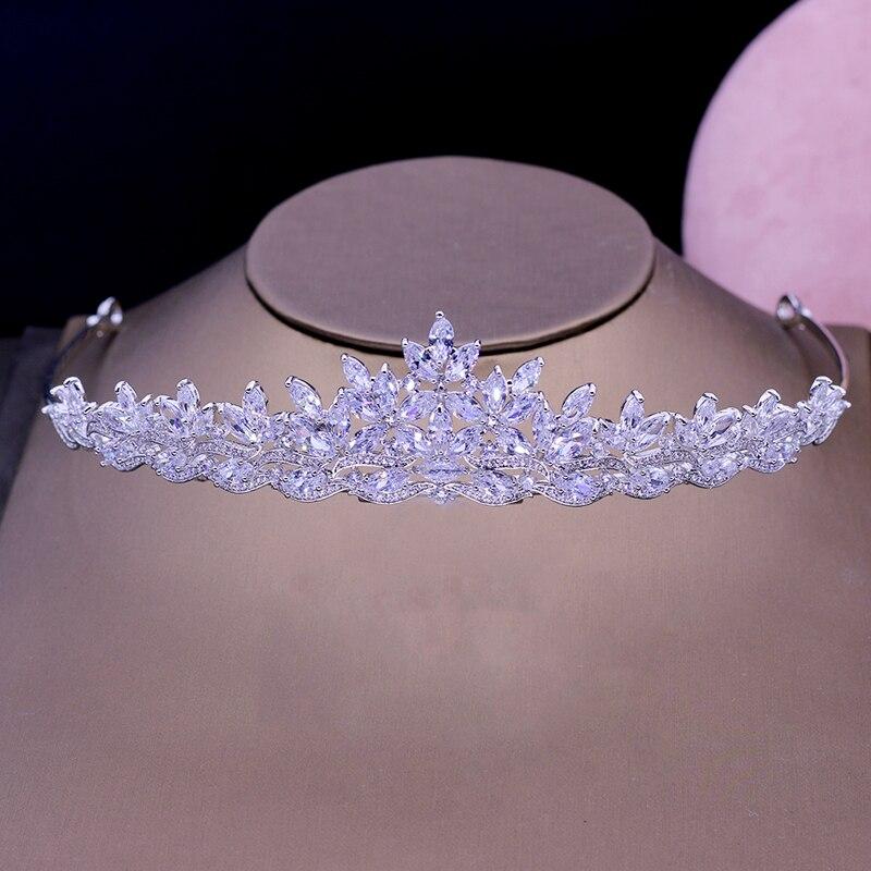 新到着ファッションジュエリー Aaa キュービックジルコニアパヴェ女性ティアラヘアアクセサリー美容花嫁の結婚式の王冠ギフト用 H 027  グループ上の ジュエリー & アクセサリー からの ヘアジュエリー の中 1