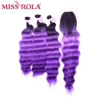 Miss Rola синтетические пучки волос с закрытием шнурка глубокая волна Связки с закрытием Kanekalon волокно Наращивание волос Омбре цвет