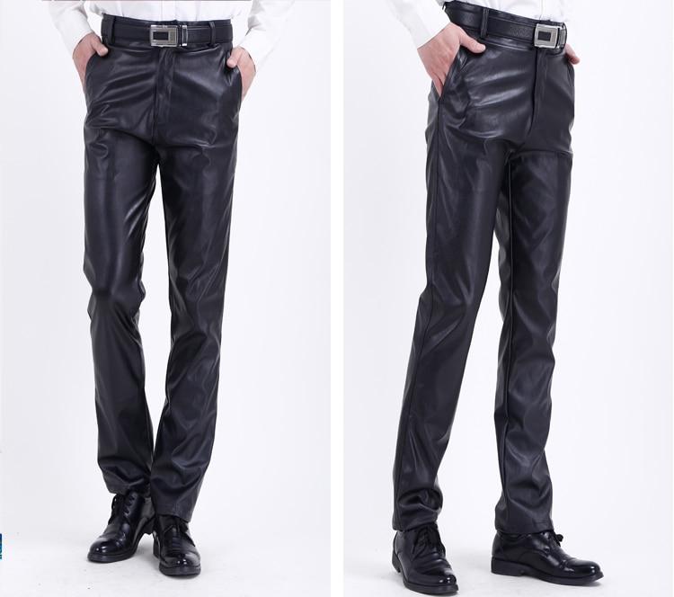 HTB1yCIBbdfvK1RjSspoq6zfNpXav Thoshine Brand Summer Men Leather Pants Elastic High Waist Lightweight Casual PU Leather Trousers Thin Motor Pants Plus Size