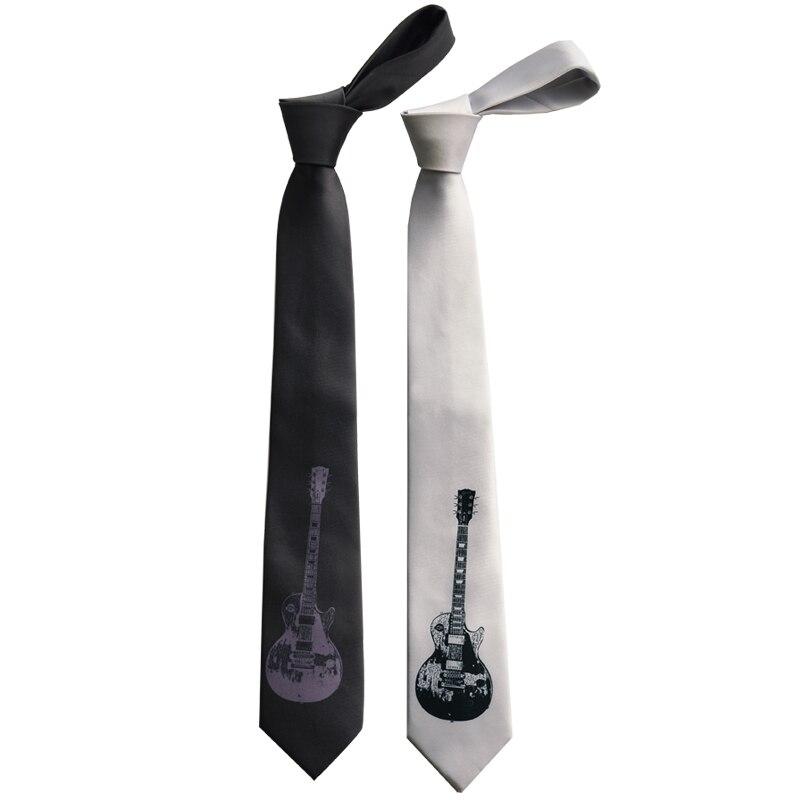 Anime Bow Tie Necktie Black Guitar Print Tie Personality Party Creative 7CM Tie Gravatas Literary Birthday Gift Ties For Men