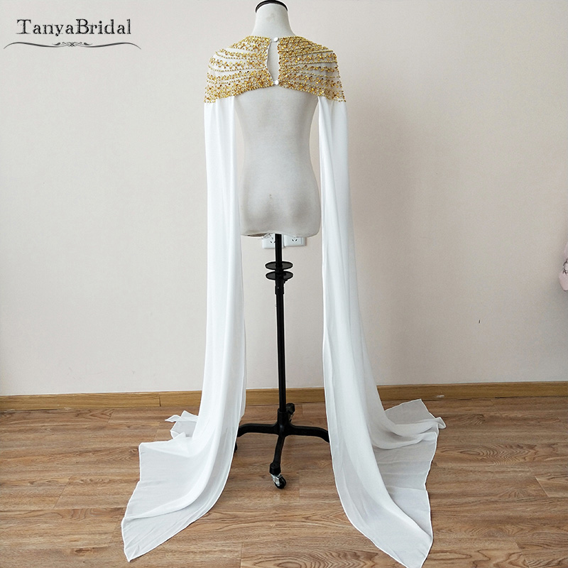 New Fashion Chiffon Bridal Cape With Long Cape sleeve Gold Beading African Event Shawl Women Evening Accessories DJ065 in Wedding Jackets Wrap from Weddings Events