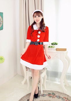 2017 New Year Costumes for Girl Christmas Costumes Cosplay Dress+Cap w/Belt  Women Christmas Dress Sweet Miss Santa Costume 1