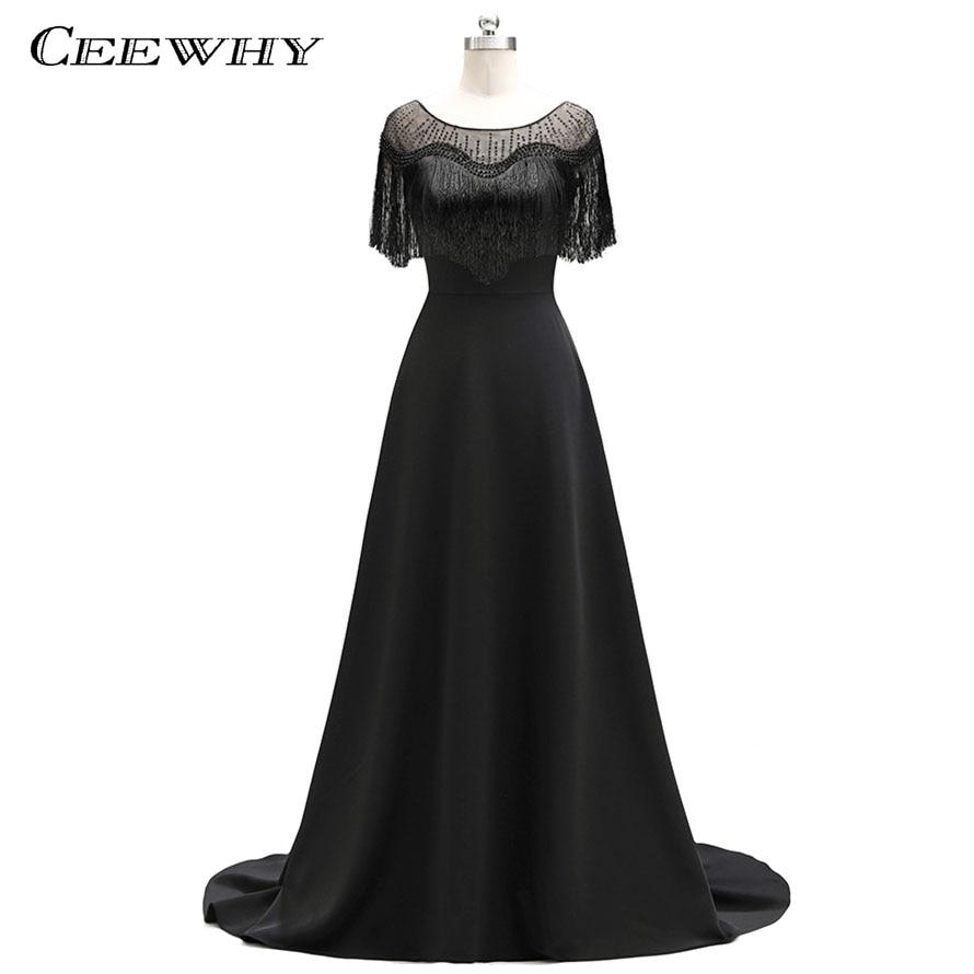 CEEWHY Court Train gland noir Robe De soirée perles De luxe robes De bal Robe formelle Robe De soirée Robe De soirée Abendkleider