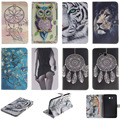 Fashion Cartoon Tiger Lion Pattern PU Leather Flip Case For Samsung Galaxy Tab 3 Lite 7.0 T110 Back Cover With Card Holder
