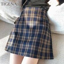 TIGENA خمر منقوشة التنانير النساء 2019 الصيف الكورية موضة ألف خط تنورة عالية الخصر الإناث مثير قصيرة قصيرة فحص تنورة المدرسة