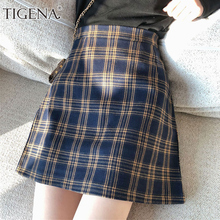 TIGENA Vintage กระโปรงลายสก๊อตผู้หญิง 2019 ฤดูร้อนแฟชั่นสไตล์เกาหลี A   Line กระโปรงเอวสูงหญิงสั้นเซ็กซี่ตรวจสอบกระโปรงโรงเรียน