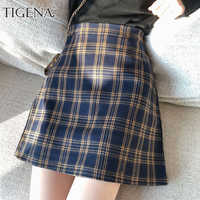 TIGENA Vintage Plaid Skirts Women 2019 Summer Korean Fashion A-line High Waist Skirt Female Sexy Mini Short Checked Skirt School