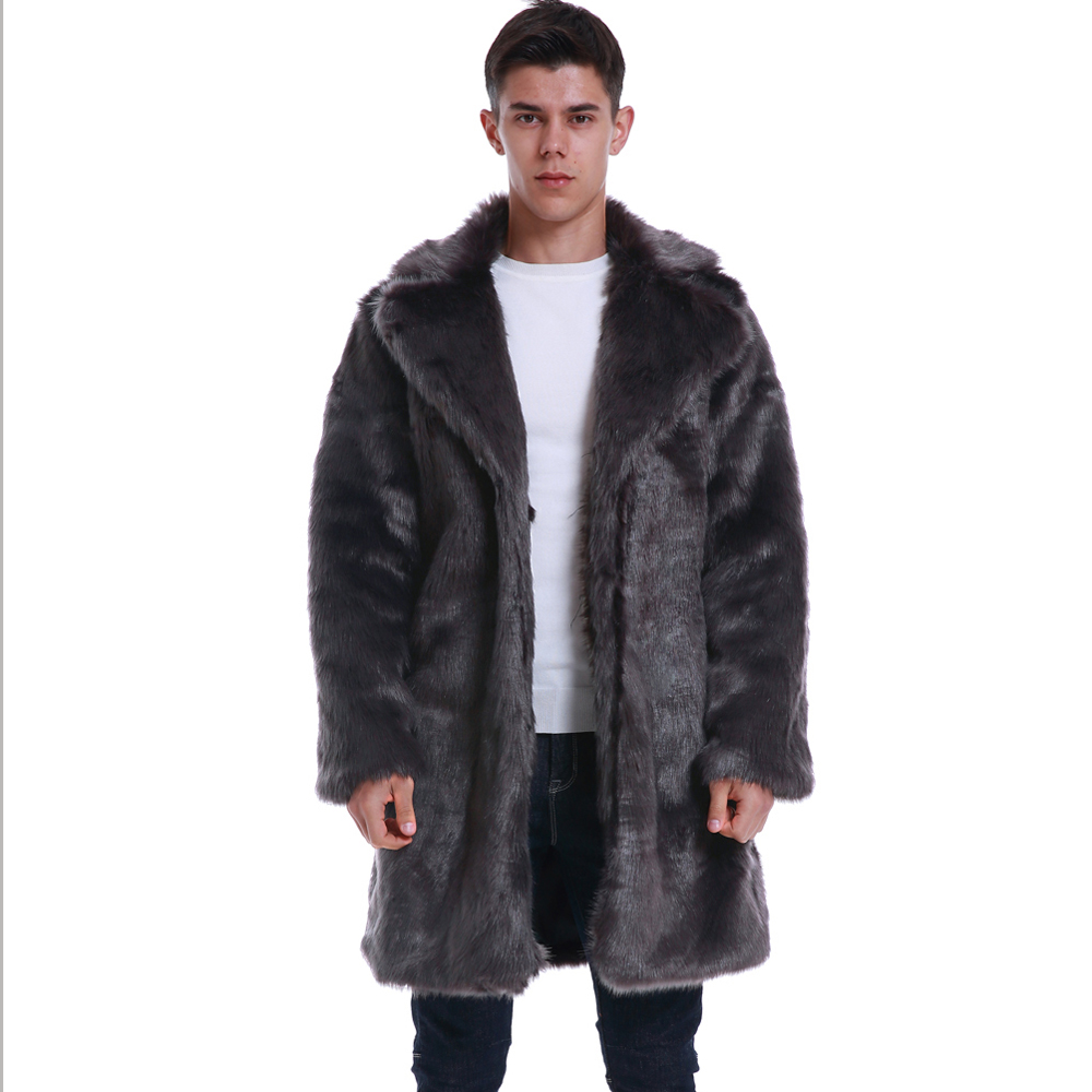 Fashion Autumn Winter New Men's Suit collar Faux Fur Long Coat High-grade Man Comfortable Thick Warm Windbreaker