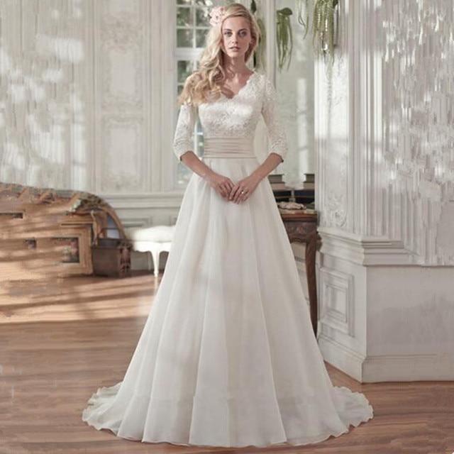 7d0e675170c 2016 Muslim Bride Dress Modest Lace 3 4 Sleeves V Neck Chiffon Princess Wedding  Dresses