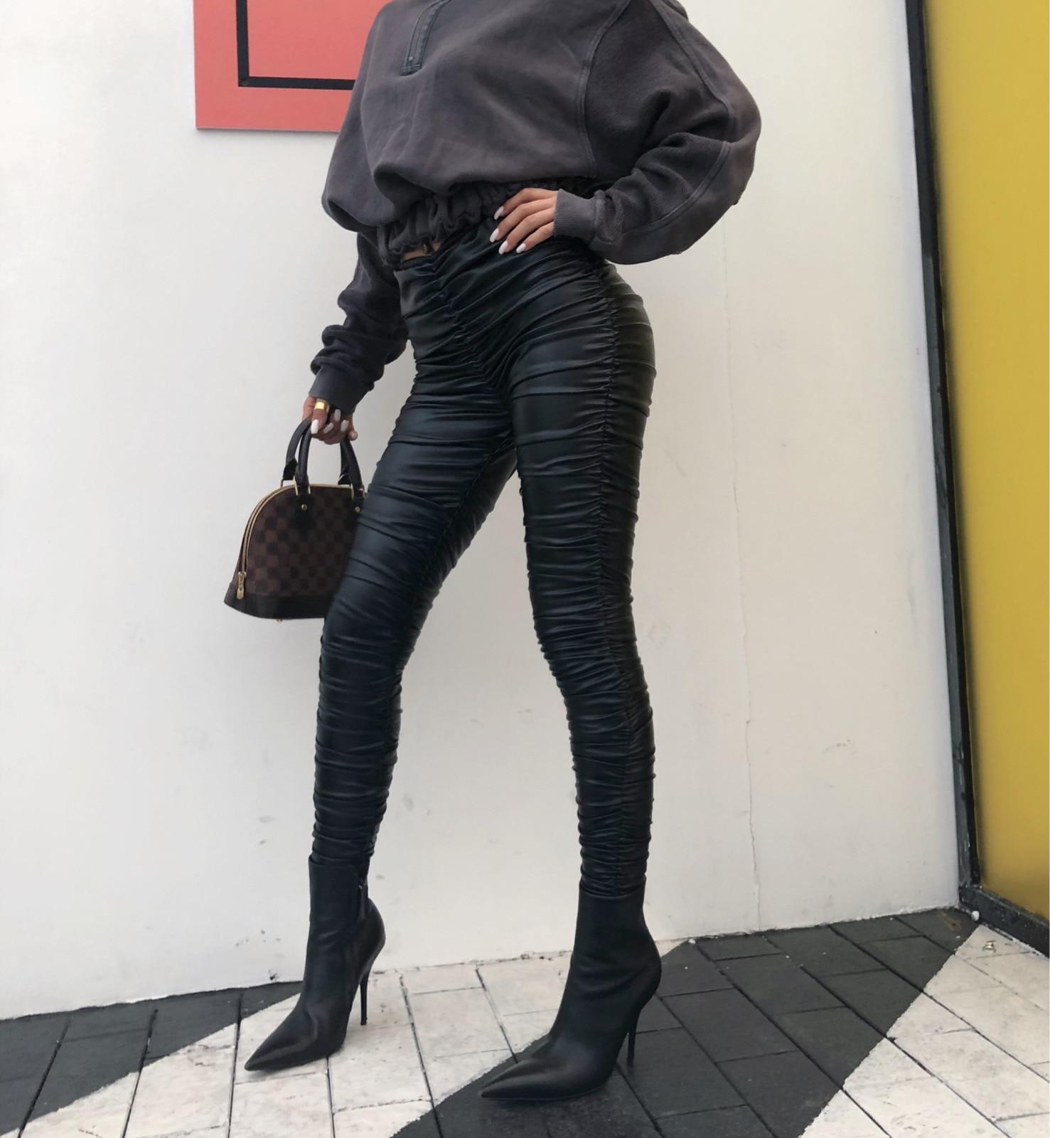 Pantalon Palazzo pantalon régulier offre spéciale Faux cuir 2018 nouveau pantalon femme robe de rue plis complets grand élastique Pu femmes