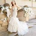 Sereia de luxo Vestido De Noiva com Babados Casamento Berydress Sweetheart Organza Cristal Frisado Vestido De Noiva 2017 Trem Da Capela