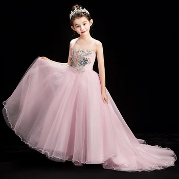 2019 New Good Quality Children Girls Luxury Pink Evening Party Wedding Long Tail Puffy Mesh Dress Kids Toddler Model Host Dress