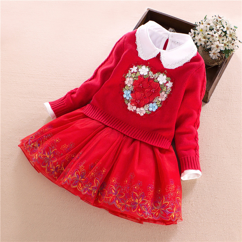 Children Clothing Set Girls School Dress Set Cotton Sweater Coat and Lace Dress for Baby  Spring\autumn Princess Floral 3Y-9Y kid girls sweater lace dress 2018 spring