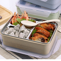 Wheat straw 304 stainless steel lunchbox japanese bento box thermo food container bento lunch box with spoon and fork