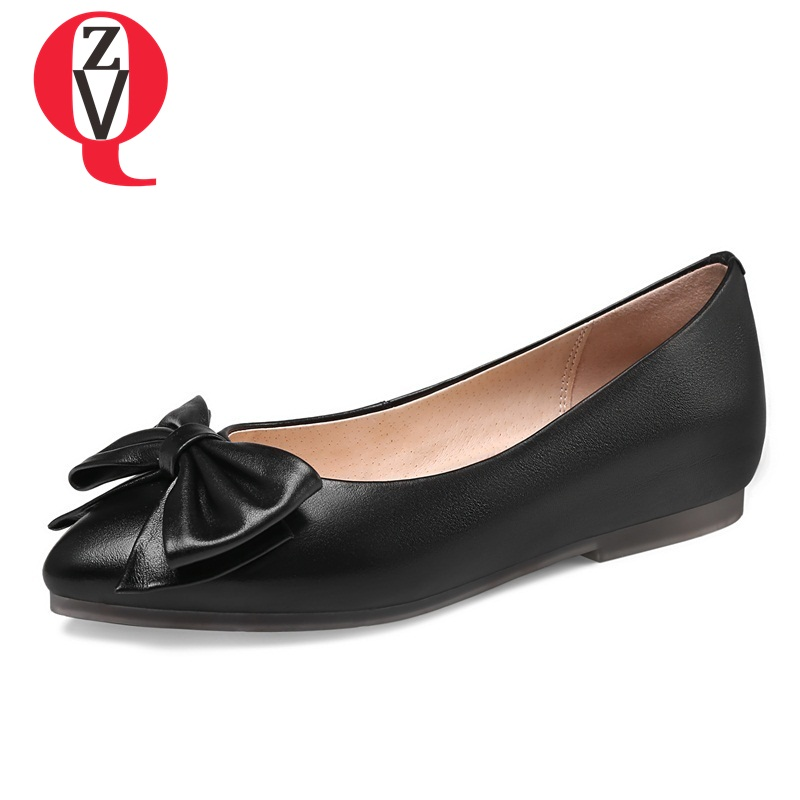 ZVQ women shoes new patent leather flats pointed toe shallow butterfly-knot three colors casual slip-on large size footwear venchale 2018 summer new cow leather solid outside butterfly knot high thin heel three colors casual pointed toe women s slides
