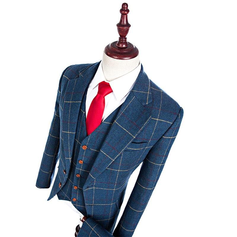2019 шерсть Синий твид индивидуальный заказ Для мужчин Выпускной костюм блейзеры Ретро Tailor made Slim Fit Нарядные Костюмы для свадьбы для Для мужчи
