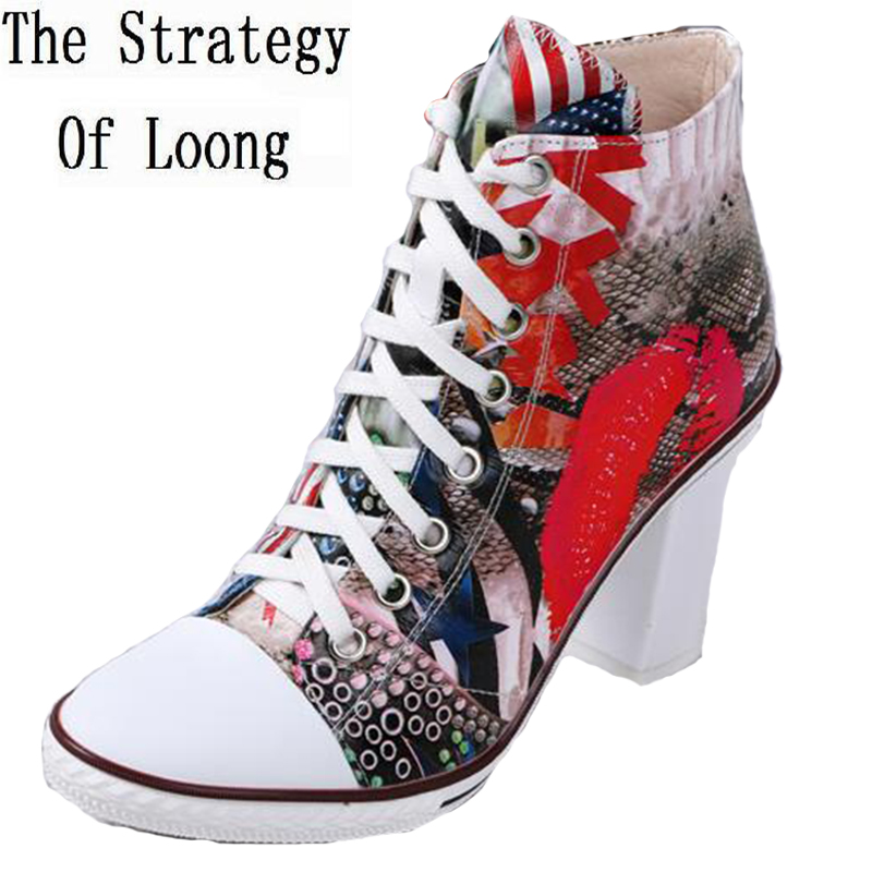 2017 New Genuine Leather Women High Top Shoes Printed Leather Colorful Lady Beautiful Short Boots Ankle Boots Big Size 41 Boots