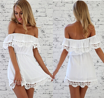 Free Shipping New FASHION sexy Lace Strapless white casual dress ...
