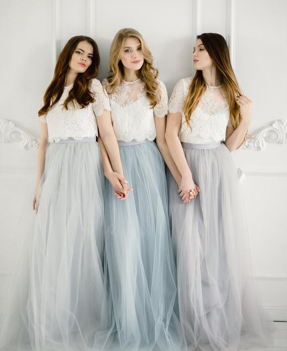 efff47635c Bridesmaids separates Rustic bridesmaids dresses Belle Lace Separates  Wedding Dress Set Stylishbrideaccs Lace Crop Top -in Bridesmaid Dresses  from Weddings ...