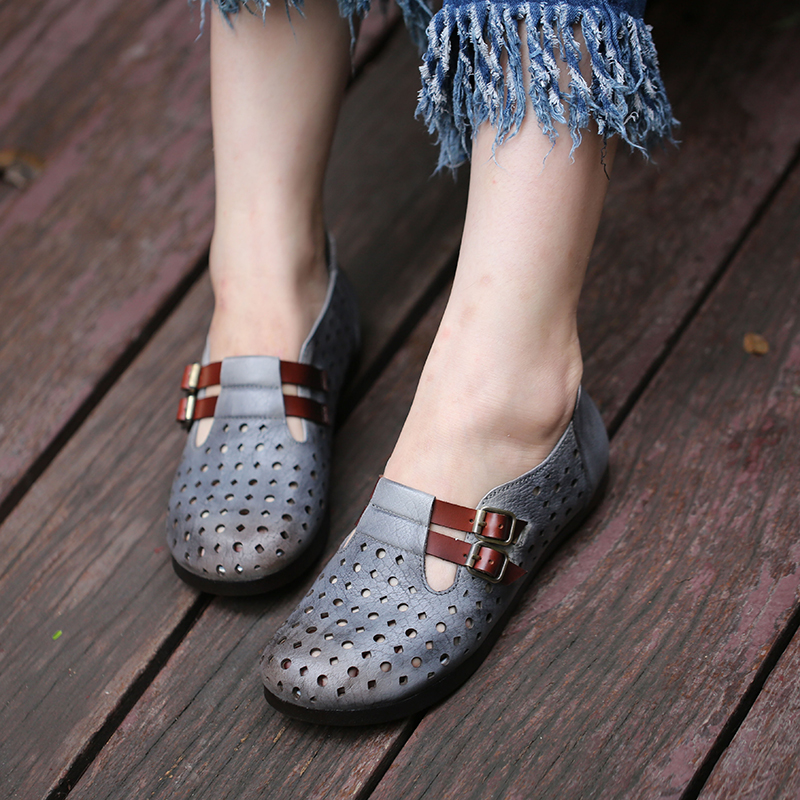 все цены на Double Buckle Flat Shoes For Women Natural Leather Hollow Out Lady Flats Breathable Hole Female Super Comfort Shoes