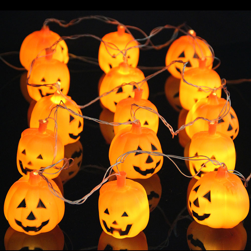 3.5m 4m Halloween Decorations Orange Pumpkin Led String Lights Ac110 220v  Lanterns Lamp For Diy Home Bar Outdoor Party Supplies