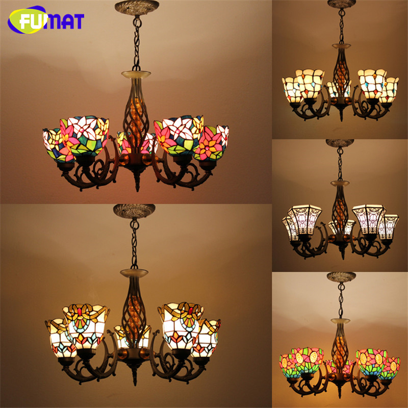 Tiffany Pendant Lamp Antique Style Baroque Hollow  Body Flower Stained Glass Shade Restaurant Suspension Lamp Hotel Project Ligh