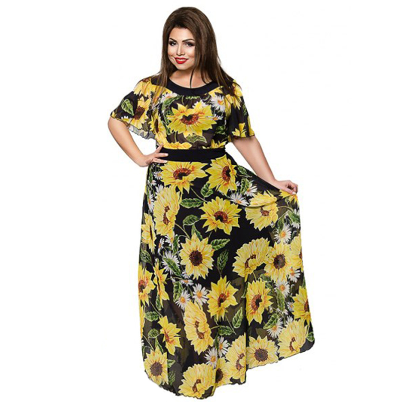 US $18.99 40% OFF|2018 Women Plus Size Clothing Summer Beach Dress  Sunflower floral Chiffon Long Dress Flare Sleeve Plus Size 5XL 6XL-in  Dresses from ...