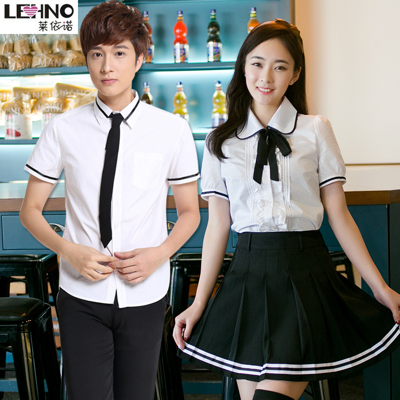 The British School Students Wear Uniforms Summer Workwear Japanese Sailor suit short sleeved Cotton Blouse and Skirt Tracksuit