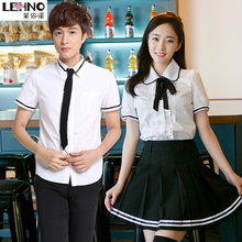 Blouse Wear-Uniforms Cotton Tracksuit Skirt Workwear Short-Sleeved Japanese British And