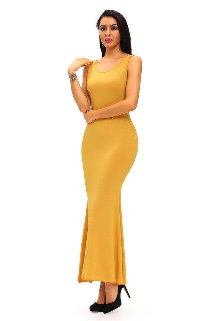 Crochet Stunning Lace Back Detail Sleeveless Yellow Maxi Dress 2017