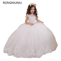 Hot Sale Ball Gown Holy Communion Dresses Custom Made White Flower Girl Dresses For Wedding Lace