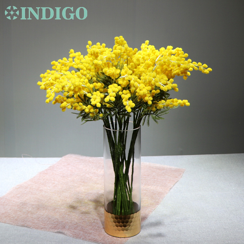 20 PCS Australia Acacia Small Style Yellow Mimosa Pudica Spray Artificial Flower Wedding Flower Party Event