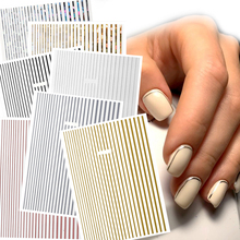 1 sheet Stripes Wave Line 3D Nail Art Sticker Metal Multi-size Wave Strip Nail Stickers Decoration Adhesive Sticker Decals ms317 2 100pcs sea series gold cute anchor metal sticker nail art metal sticker nail art decoration non adhesive sticker
