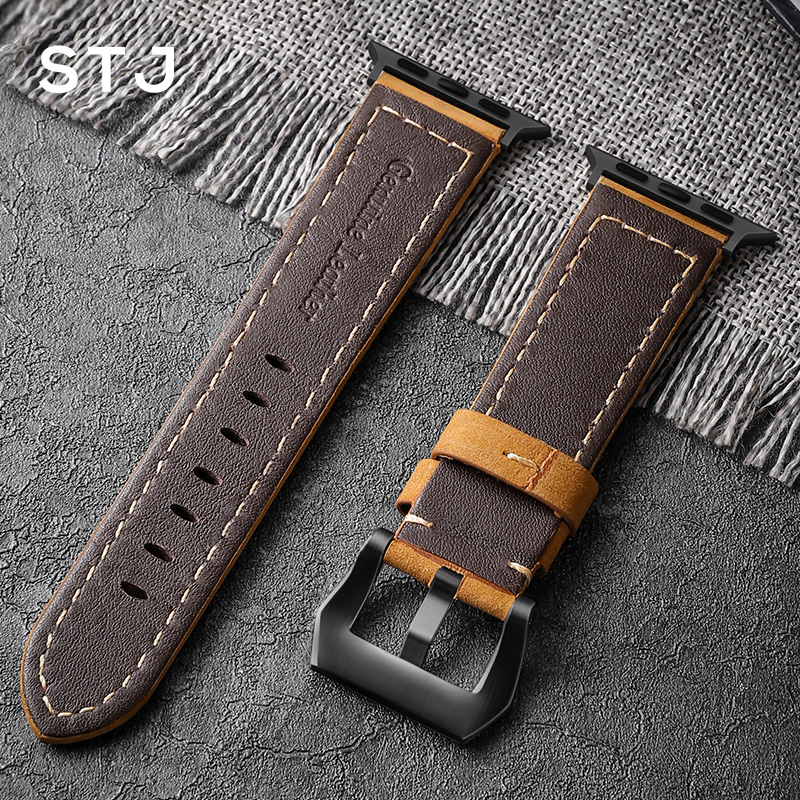 Image 3 - STJ Handmade Cowhide Watchband For Apple Watch Bands 42mm 38mm & Apple Watch Series 4 3 2 1 Strap For iWatch 44mm 40mm Bracelet-in Watchbands from Watches