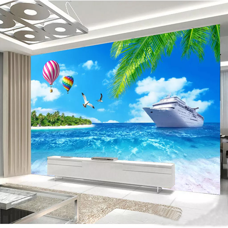 Custom Wall Cloth 3D Sea View Coconut Tree Boat Nature Landscape Wallpaper Living Room Bedroom Decoration Background Wall Mural