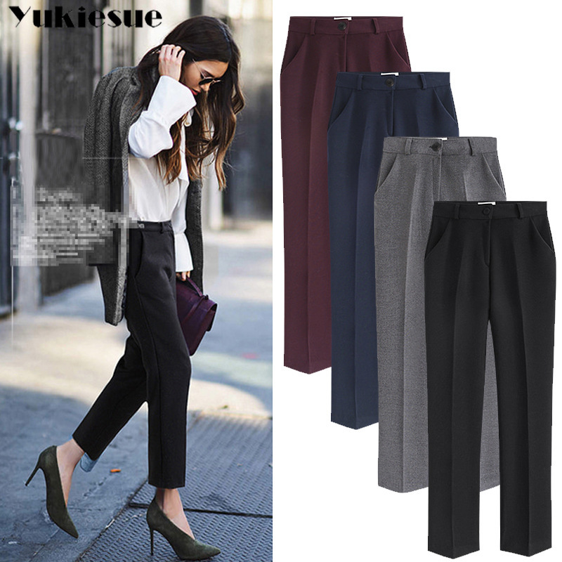 streetwear summer 2019 office women's   pants   female black high waist pencil   pants     capris   for women trousers woman Plus size 5XL