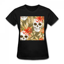 Solid Color WomenS  Two Skulls Equinox Flower O-Neck Cotton Short Sleeve Shirts