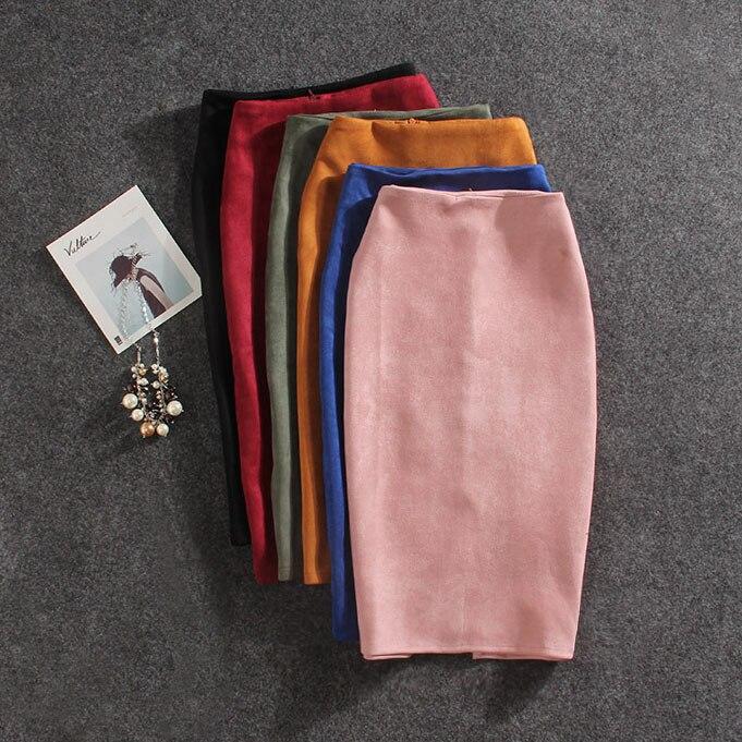 Mujeres Faldas verano más tamaño rodilla-longitud lápiz Falda Mujer Vintage Suede Split Faldas Jupe Femme Faldas Mujer