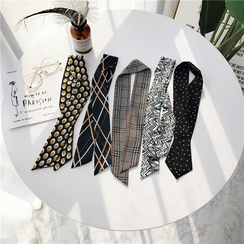 Luna&Dolphin Women Long Scarf 86x6cm Black White Chiffon Silk Scarves Bohemia Plaid Tie Scarf Headband Bag Ribbon Flower Choker