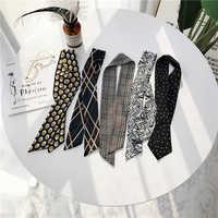 Luna&Dolphin Women Long Scarf 86x6cm Black White Chiffon Silk Scarves Bohemia Plaid Tie Scarf Headband Bag Ribbon Flower Choker