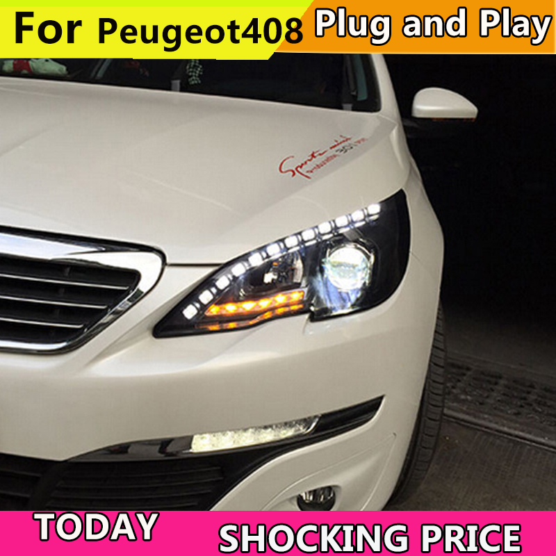 цены Car headlight for Car head lamp for Peugeot 408 LED Headlight 2014 2015 2016 Head light with xenon HID projector lens and DRL