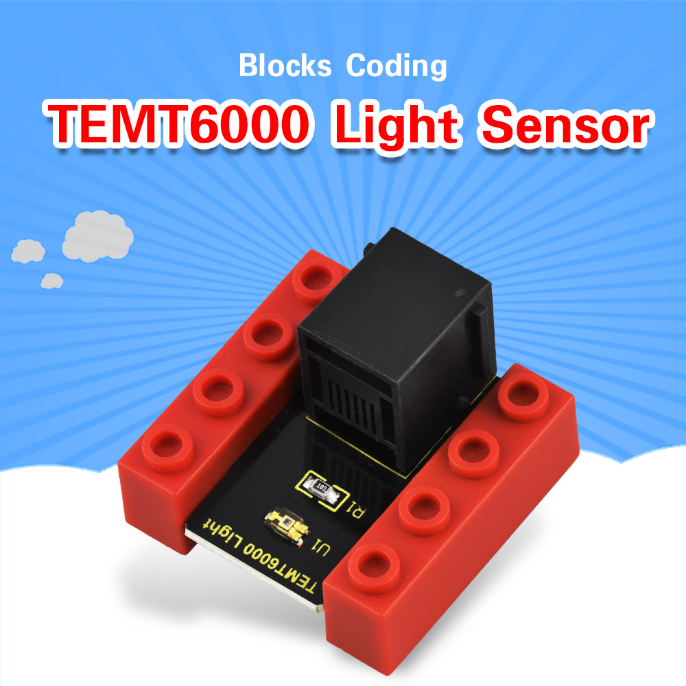 Kidsbits Blocks Coding TEMT6000 Light Sensor Module For Arduino STEAM EDU (Black And Eco Friendly)