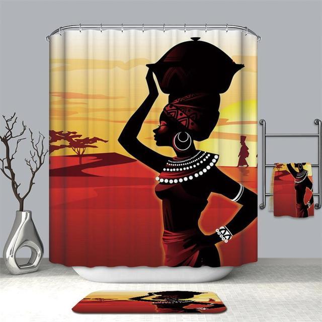 GASON tenda della Stanza Da Bagno di Alta Qualità Natura Poliestere Impermeabile 2 m Tessuto ragazza Donna Africana Semplice tenda della Doccia UE Ritratto