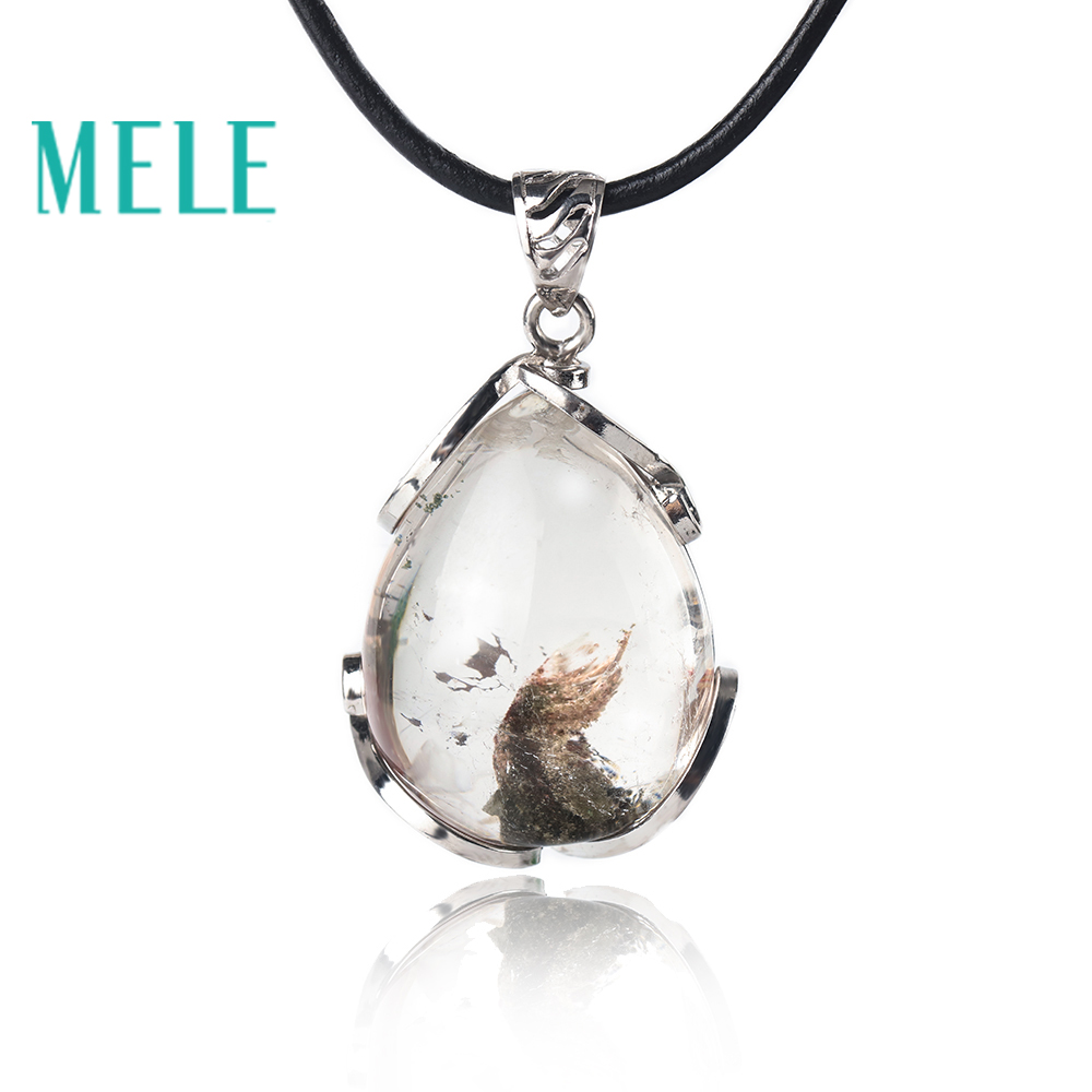 MELE natural green ghost phantom garden crystal pendant for women and man,14.3g water drop good pervious Anti fatigue c ts051 anti fatigue anti radiation enhance immun 100g green natural spirulina tea tablet health food 400 пилюль утверждено