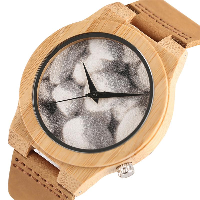 Handmade 2017 Wooden Watch Male Unique Stone Pebble Cobble Face Sport Bamboo Quartz Wristwatches Men Women Clocks Reloj Hombre