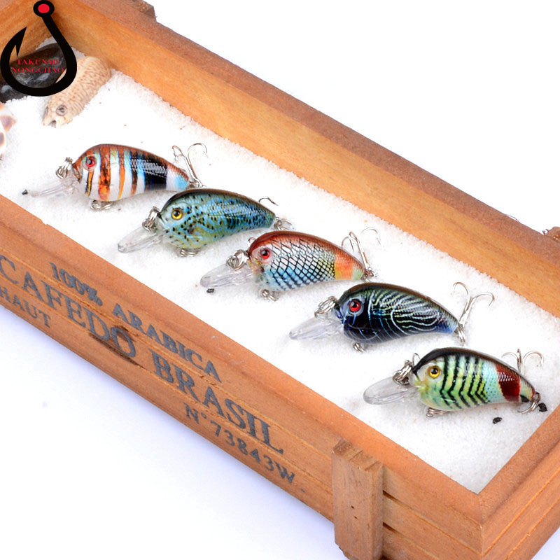 1 PCS Lure 5Color Little Fat Rock Plastic Bait 4.5cm/4.2g Coloured Drawing Pattern Serie ...
